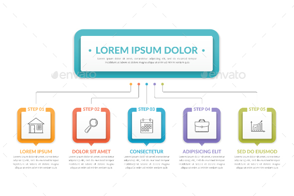 Infographic Template with Five Steps - Infographics