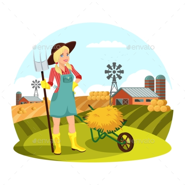 Woman with Pitchfork in Front of Field with Hay - Landscapes Nature