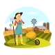 Woman with Pitchfork in Front of Field with Hay - GraphicRiver Item for Sale