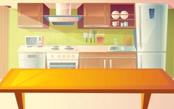Vector Cartoon Illustration of Kitchen Interior - Backgrounds Decorative