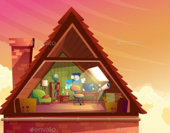 Vector Cartoon Illustration of Attic, Mansard - Buildings Objects