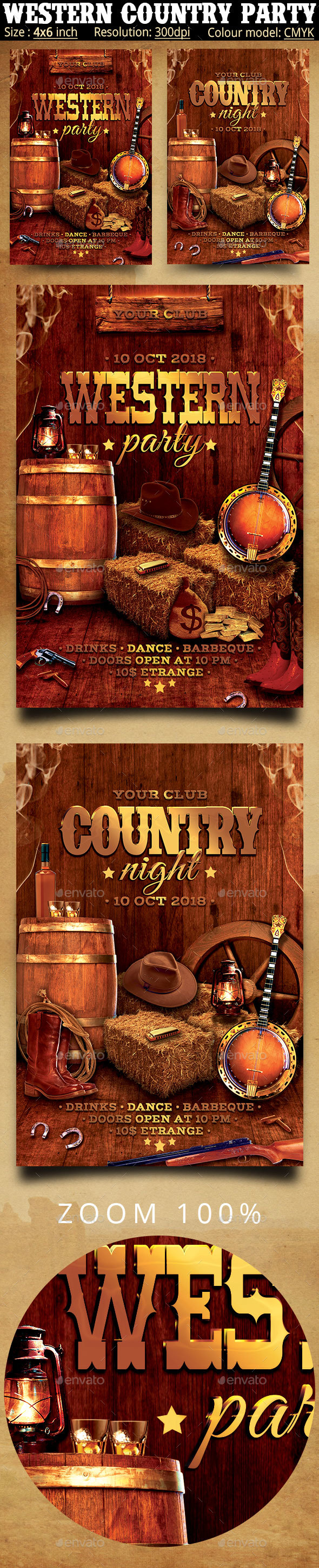 Western Country Music Party Flyer - Clubs & Parties Events