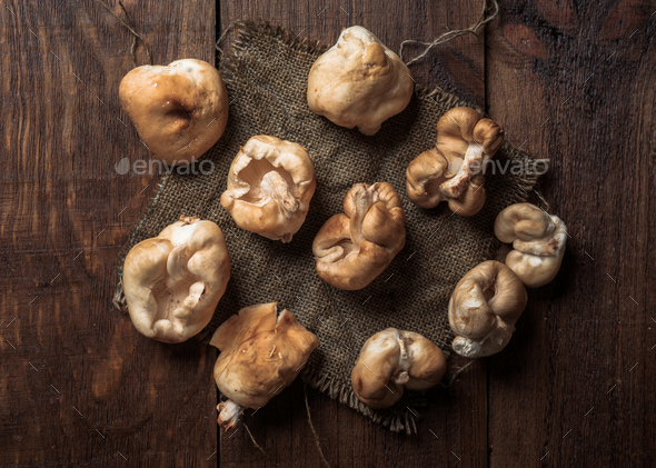 Shiitake mushrooms on rustic wood with studio lighting - Stock Photo - Images