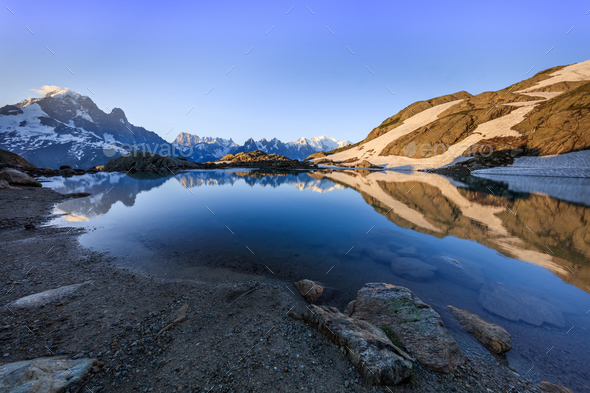 Lac Blanc, Graian Alps, France - Stock Photo - Images