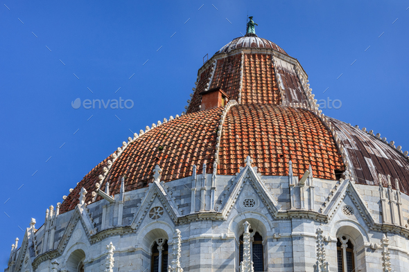Pisa Italy. Baptistry on the Piazza dei Miracoli - Stock Photo - Images
