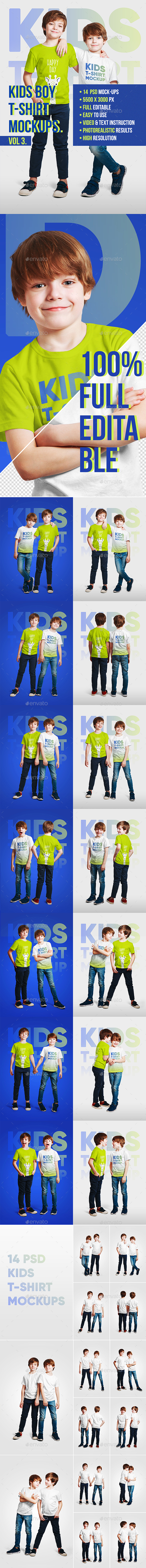 Kids Boy T-Shirt Mockups Vol3 - T-shirts Apparel
