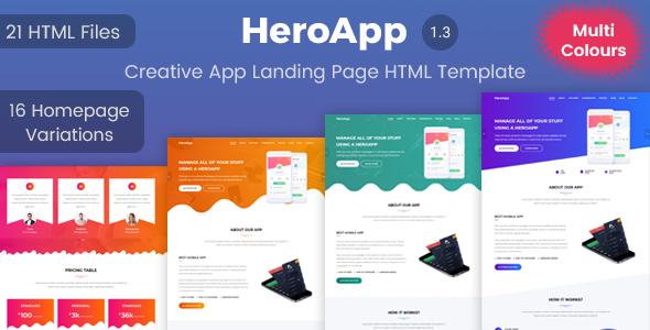HeroApp | App Landing Page HTML Template - Apps Technology