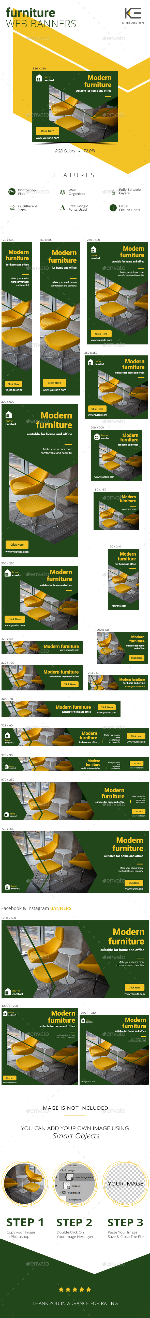 Furniture Salon Web Banners - Banners & Ads Web Elements