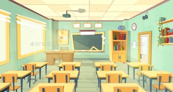 Vector Cartoon Illustration of School Classroom - Backgrounds Decorative