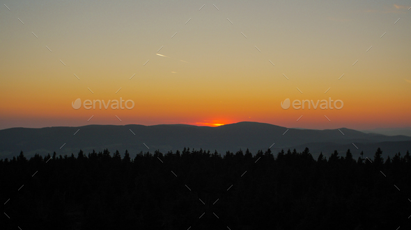 forests, mountains and dusk/dawn - Stock Photo - Images