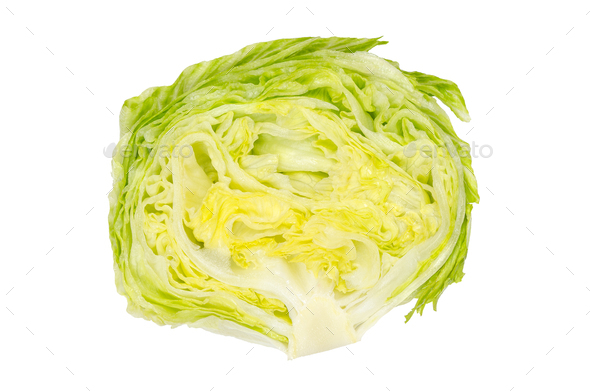 Iceberg lettuce half from above on white background - Stock Photo - Images
