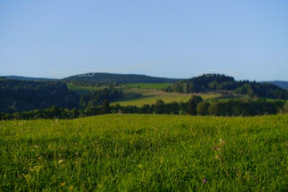 peacheful highlands landscape of czech republic, europe - Stock Photo - Images
