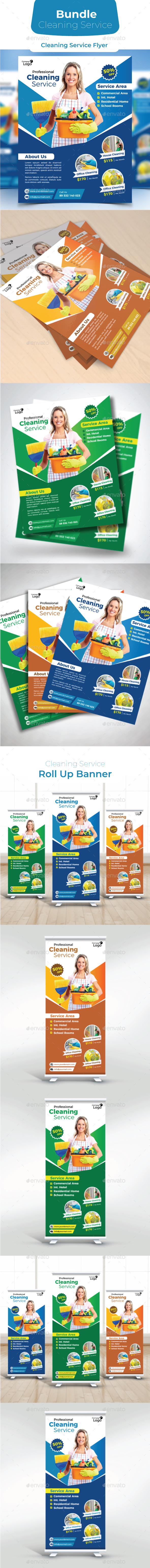 Cleaning Service Bundle - Flyers Print Templates
