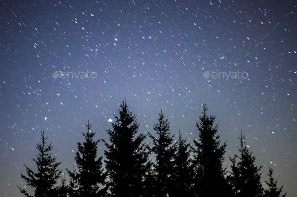night sky star trails - Stock Photo - Images