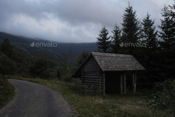 simple wooden cabin used as a hiking shelter, czech republic - Stock Photo - Images