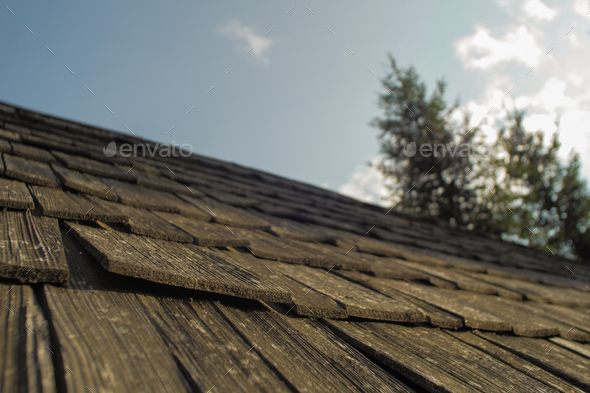details of a roof on a wooden cabin/ hiking shelter - Stock Photo - Images