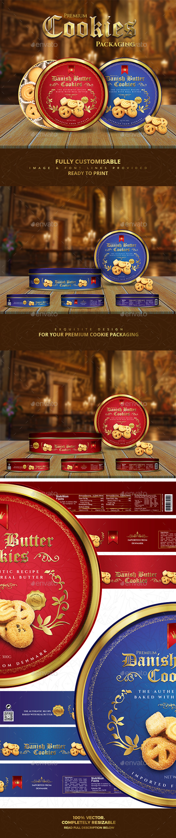 Premium Cookies Packaging - Packaging Print Templates
