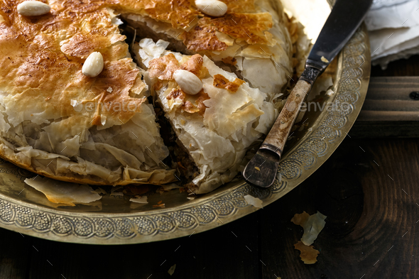 Crusty pie with chicken, close view, arabian style - Stock Photo - Images