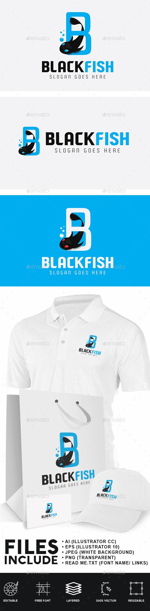 Black Fish Logo - Animals Logo Templates