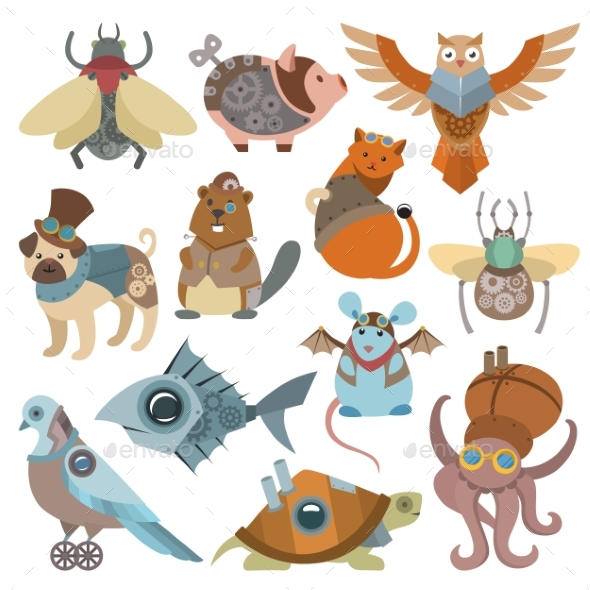 Animals Steampunk Vector Animalistic Characters - Industries Business