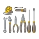 Set Hardware Tools. Vector Engraving - GraphicRiver Item for Sale
