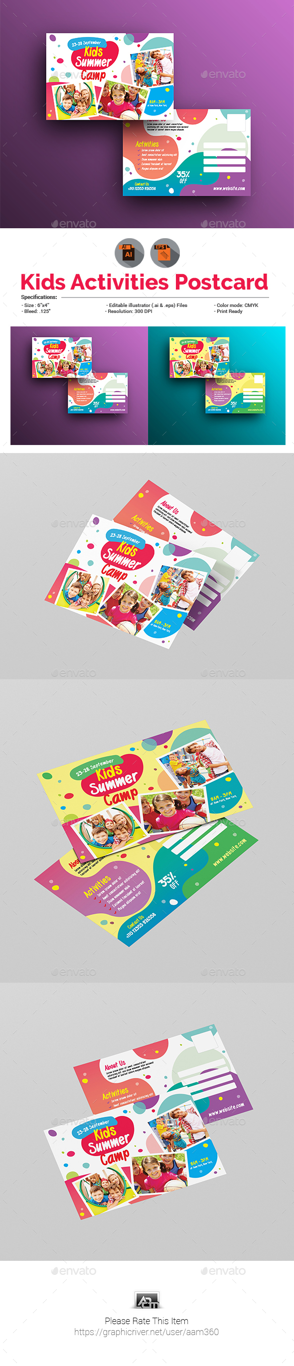 Kids Activities | Kids Summer Camp Postcard - Cards & Invites Print Templates