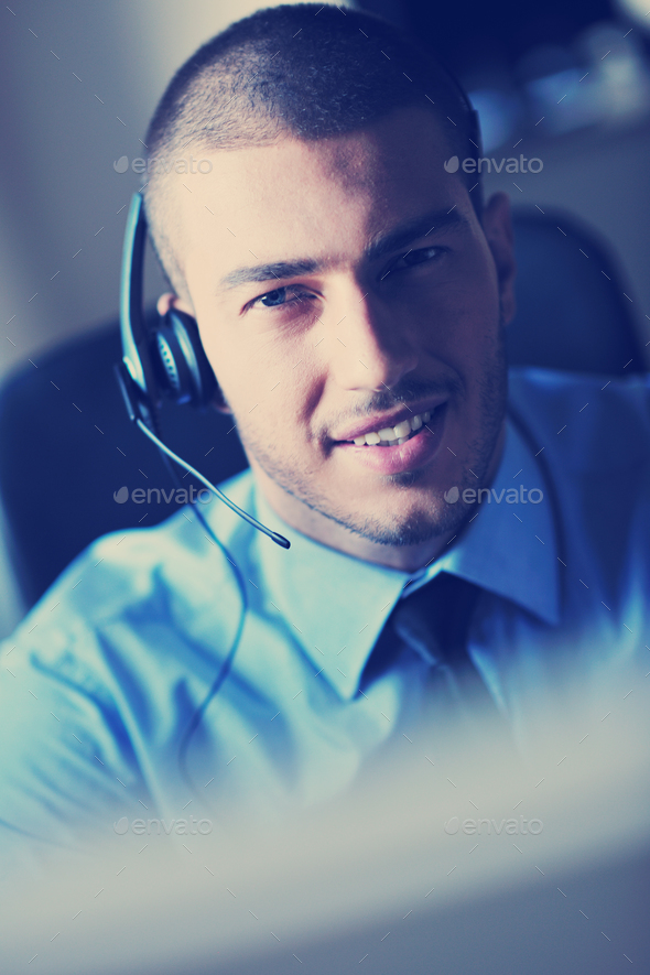 businessman with a headset - Stock Photo - Images