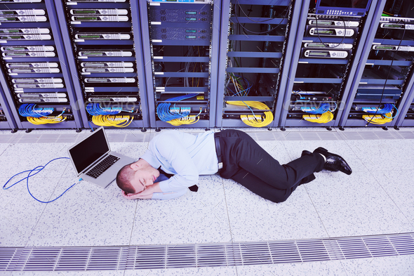 system fail situation in network server room - Stock Photo - Images