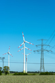Overhead lines and wind engines on a sunny day  - PhotoDune Item for Sale