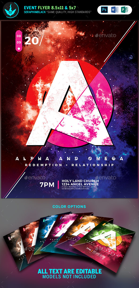 Alpha and Omega Church Flyer Template - Church Flyers