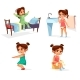 Girl Kid Morning Vector Illustration of Cartoon