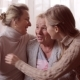 Daughter and Granddaughter Kiss Their Grandmother Happy Family Concept - VideoHive Item for Sale