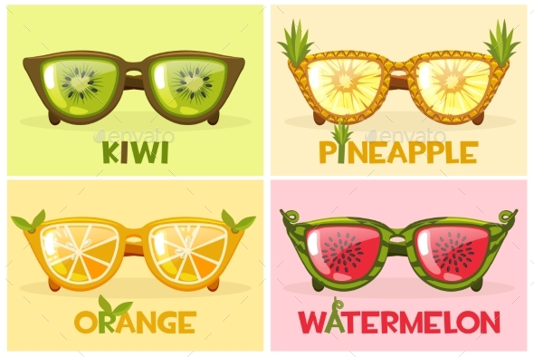 Set Fruit Glasses, Vector Illustration Watermelon - Seasons/Holidays Conceptual