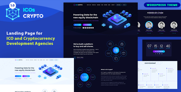 ICOs Crypto - Bitcoin, Cryptocurrency & ICO Landing WordPress Theme - Technology WordPress