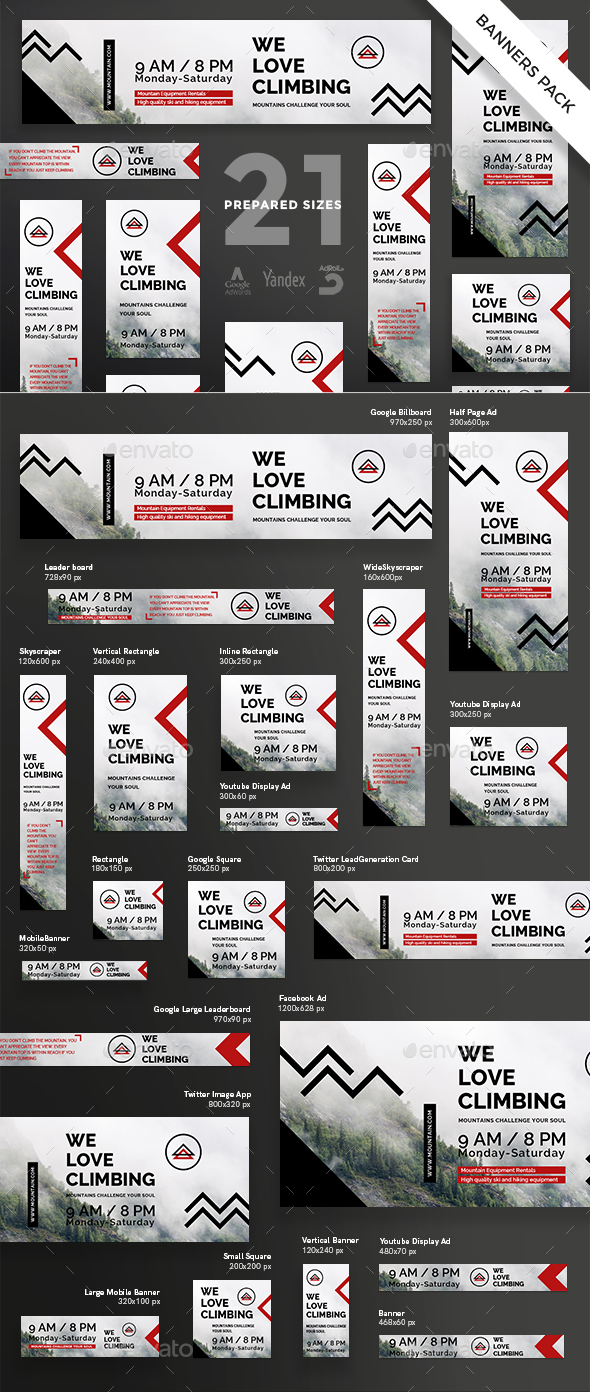 Mountain Tours Banner Pack - Banners & Ads Web Elements