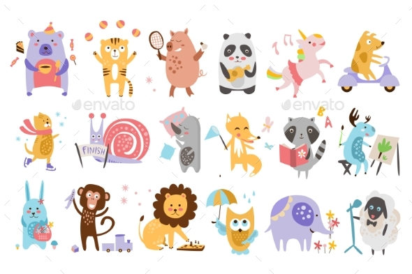Flat Vector Set of Funny Cartoon Animals - Animals Characters