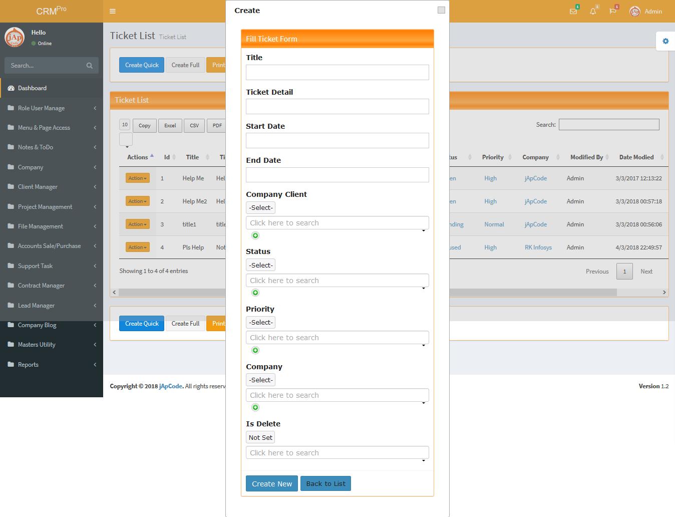 jApCode CRM Open Source Asp net Mvc 5 (Company Management System) ERP