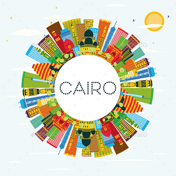 Cairo Egypt City Skyline with Color Buildings, Blue Sky and Copy Space. - Buildings Objects