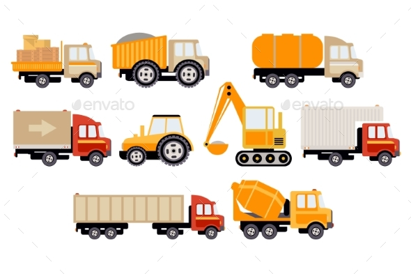 Construction and Cargo Transport Big Set - Man-made Objects Objects