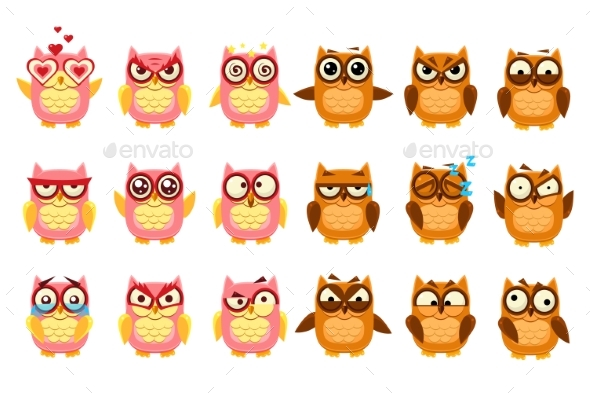Owls Set, Funny Owlets with Various Emotions - Animals Characters