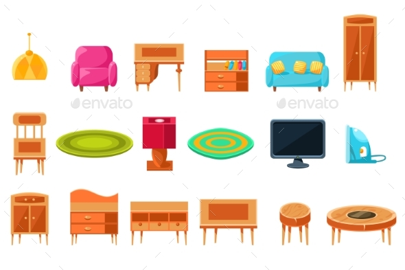 Apartment Furniture Big Set, Cabinet or Living - Objects Vectors