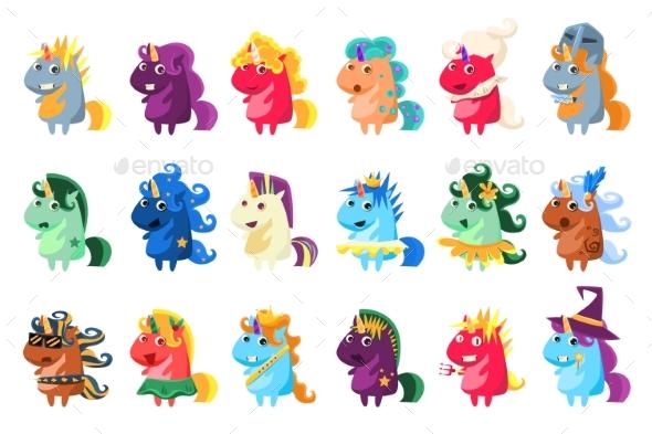 Magic Unicorn Big Set, Colorful Unicorns - Animals Characters