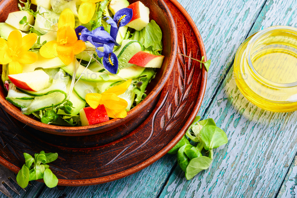 Fresh vegan salad with edible flowers - Stock Photo - Images