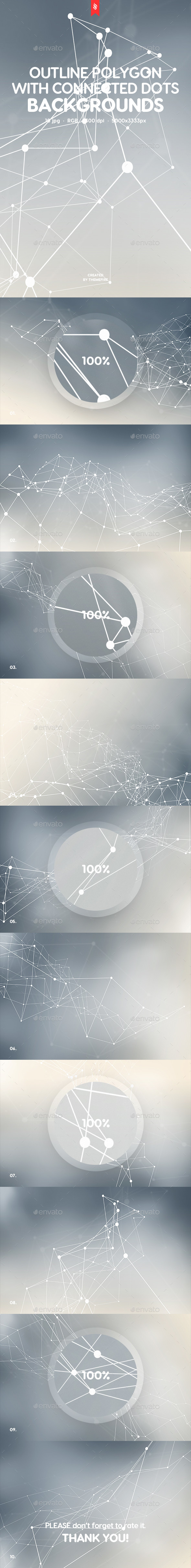 Outline Polygon with Connected Dots with Blur Effect Backgrounds - Backgrounds Graphics