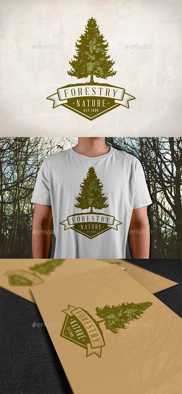 Pine Tree Emblem Logo - Nature Logo Templates