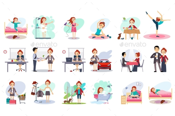 Active Day of Happy Woman. Daily Routine. Cartoon - People Characters