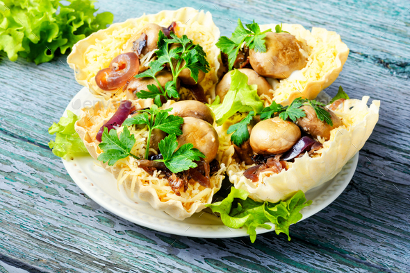 Tartlet with mushrooms - Stock Photo - Images