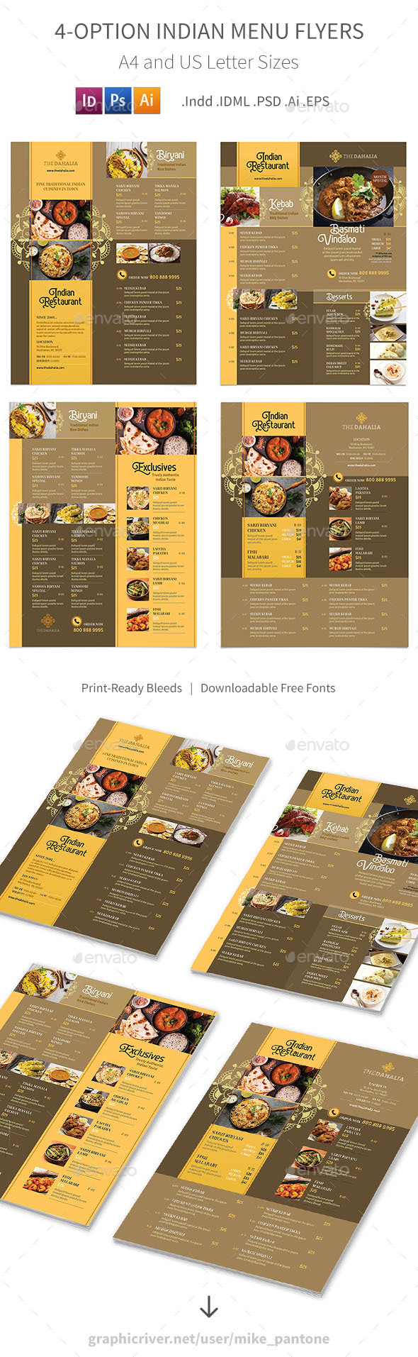 Indian Restaurant Menu Flyers 2 – 4 Options - Food Menus Print Templates