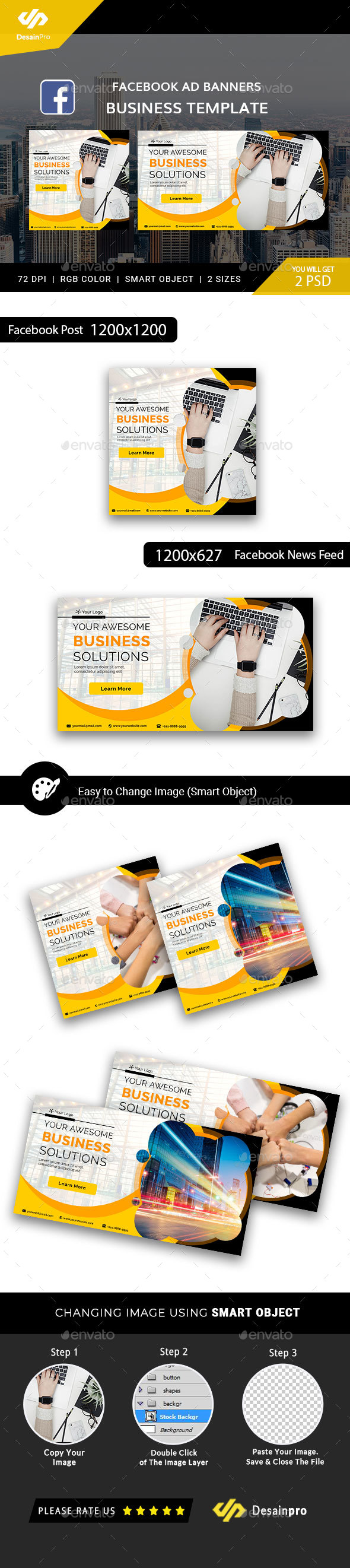 Business Solutions Facebook Ad Banners - AR - Social Media Web Elements