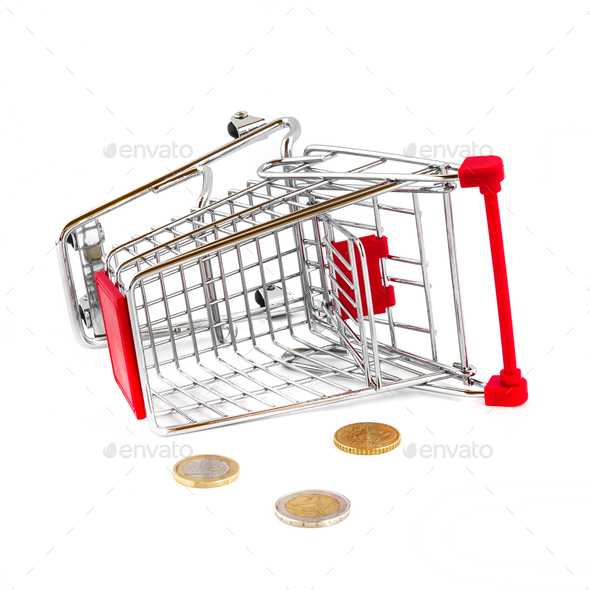 Cart broken and money fallen out - Stock Photo - Images